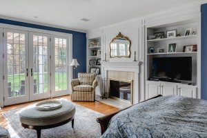 Master Bedroom Suite after with custom built-ins and new french doors